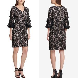 DKNY Lace Ruched 3/4 Sleeve Cocktail Dress Black 4